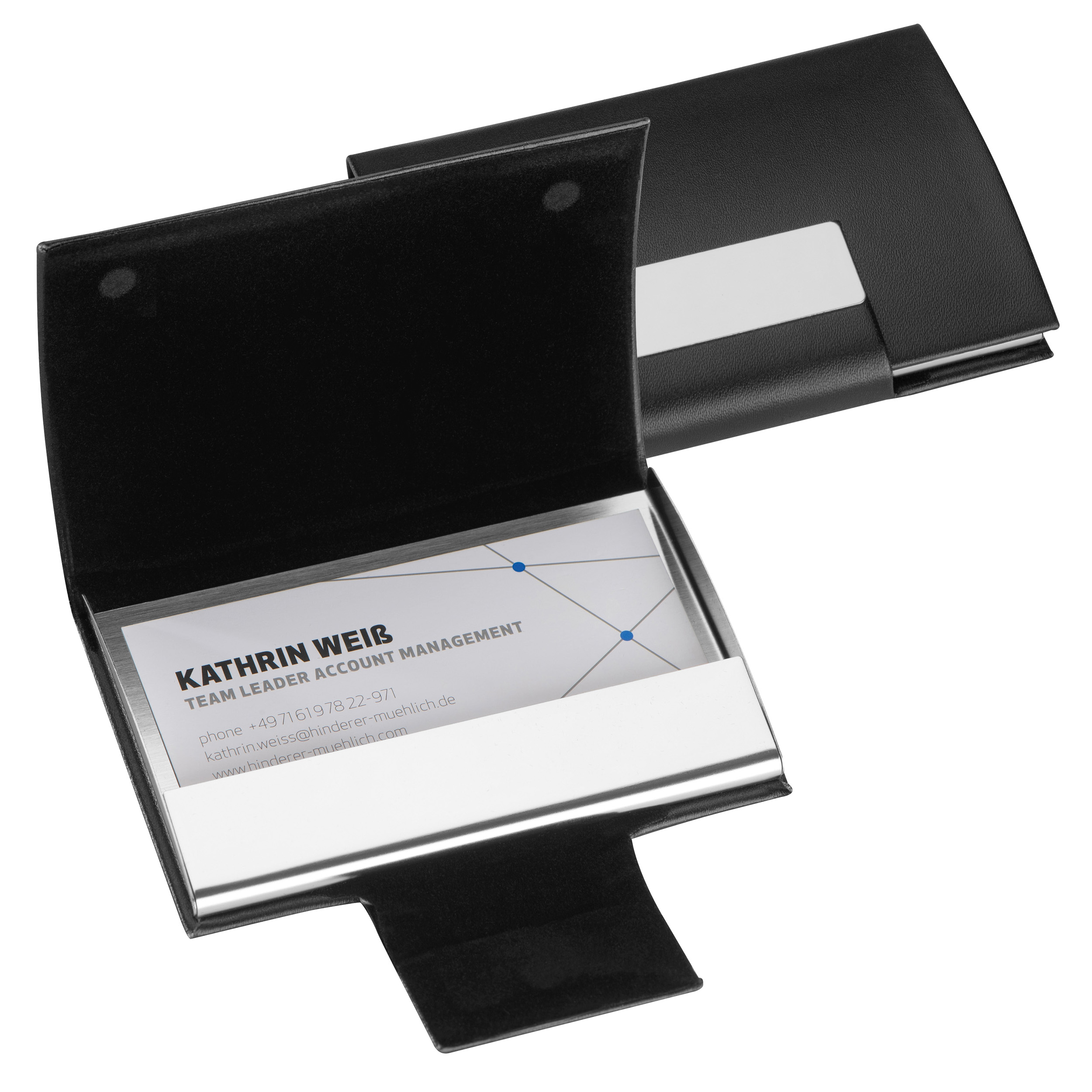 Business card<br> holder with cover<br>made of synthetic