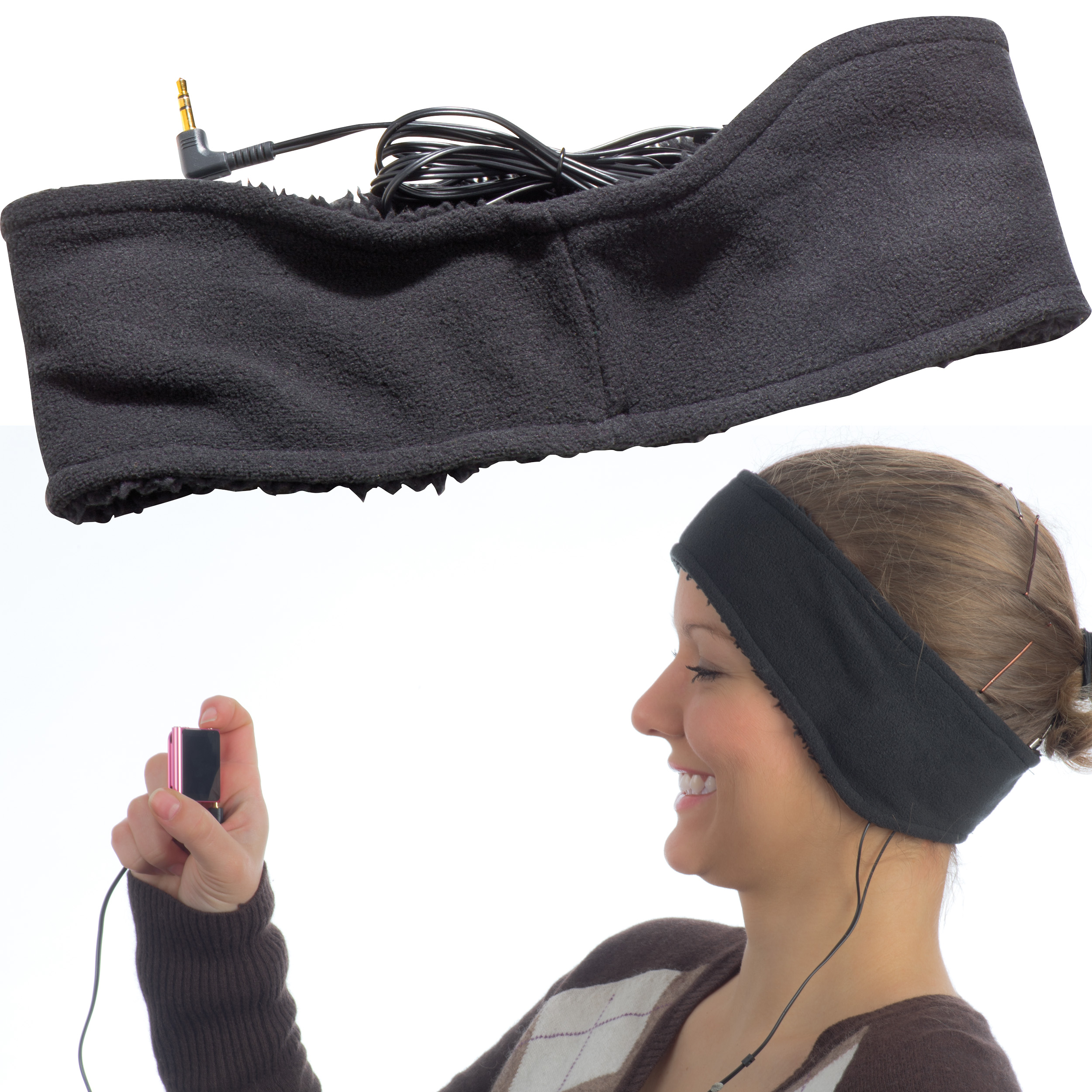Headband with headphones