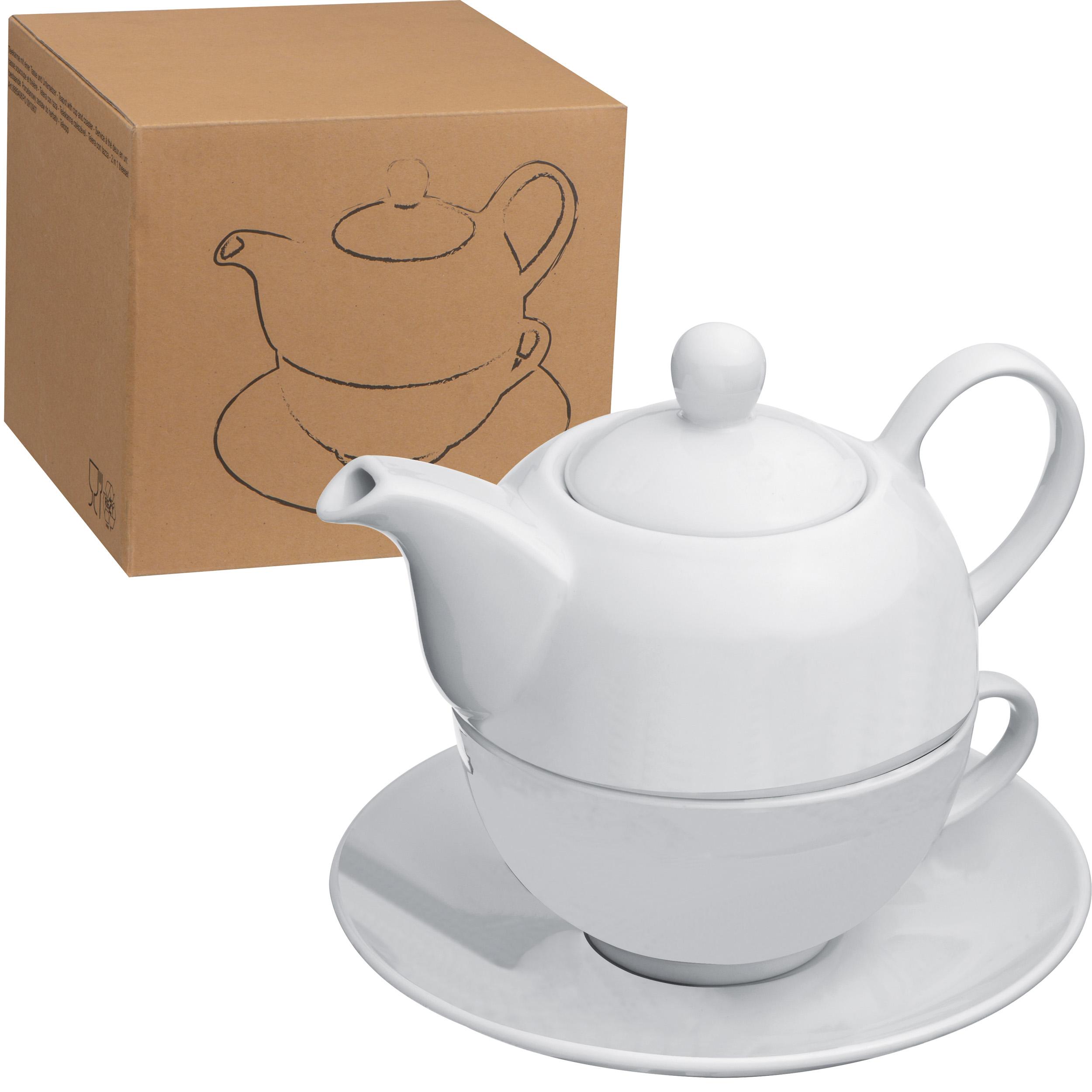 Teekanne mit einer<br> Tasse und<br>Untersetzer